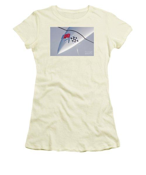 1966 Corvette Hood Ornament  Women's T-Shirt (Junior Cut) by Aloha Art