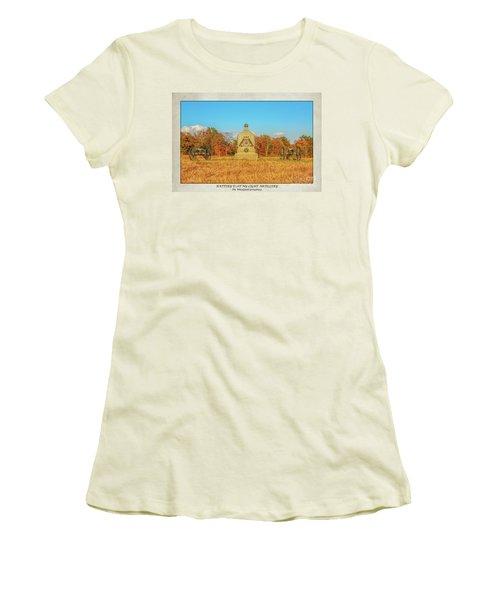 1st New York Battery D Gettysburg Poster Women's T-Shirt (Junior Cut) by Randy Steele