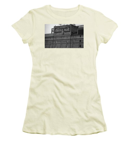 Baltimore Orioles Park At Camden Yards Bw Women's T-Shirt (Athletic Fit)