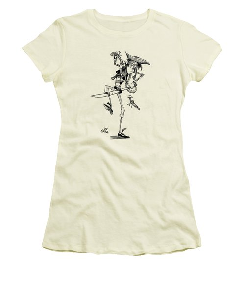 Clumsy Pirate Women's T-Shirt (Junior Cut) by Andy Catling