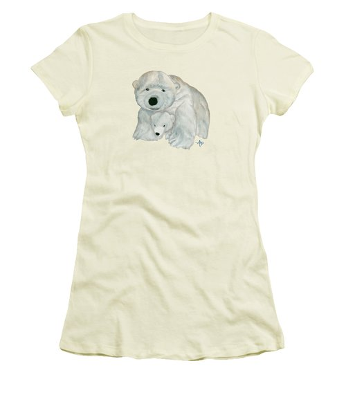 Cuddly Polar Bear Women's T-Shirt (Junior Cut) by Angeles M Pomata
