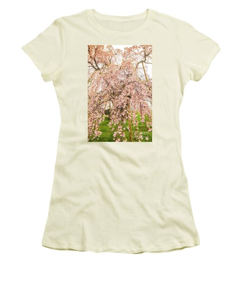 Women's T-Shirt (Athletic Fit) featuring the photograph Miharu Takizakura Weeping Cherry03 by Tatsuya Atarashi