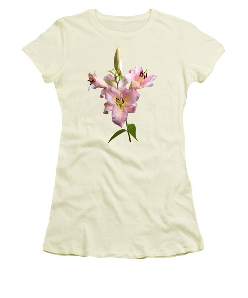Pink Lilies On Cream Women's T-Shirt (Athletic Fit)