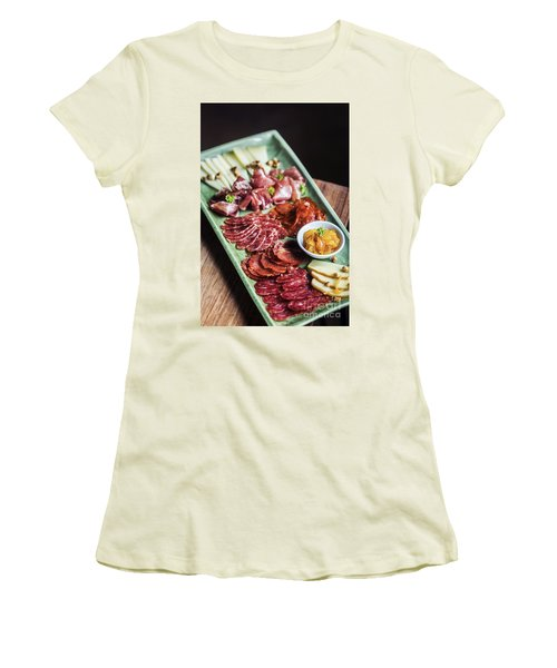 Spanish Smoked Meats Ham And Cheese Platter Starter Dish Women's T-Shirt (Athletic Fit)