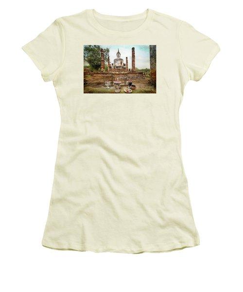 Women's T-Shirt (Junior Cut) featuring the photograph Sukhothai Buddha by Adrian Evans