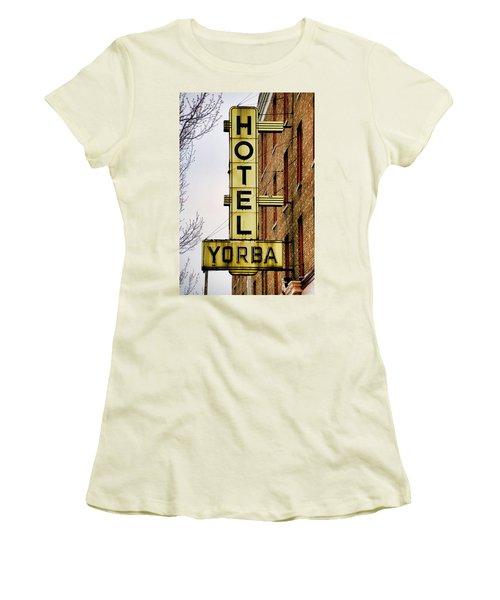 Hotel Yorba Women's T-Shirt (Junior Cut) by Gordon Dean II