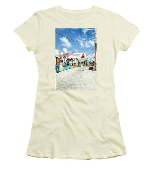 Street Scene Of San Pedro Women's T-Shirt (Junior Cut) by Lawrence Burry