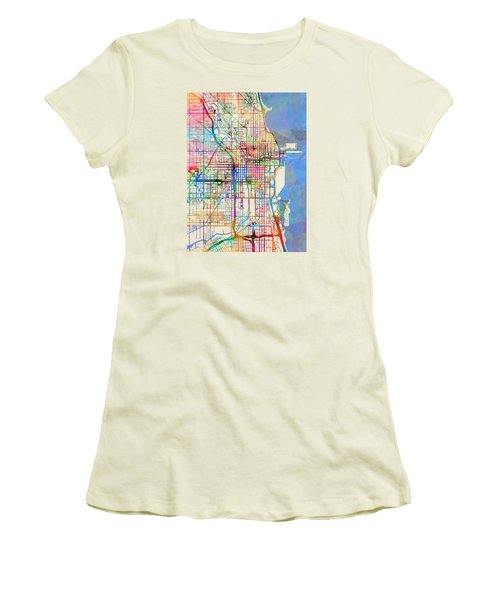 Chicago City Street Map Women's T-Shirt (Junior Cut) by Michael Tompsett