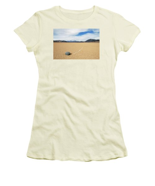 Women's T-Shirt (Junior Cut) featuring the photograph Death Valley Racetrack by Breck Bartholomew