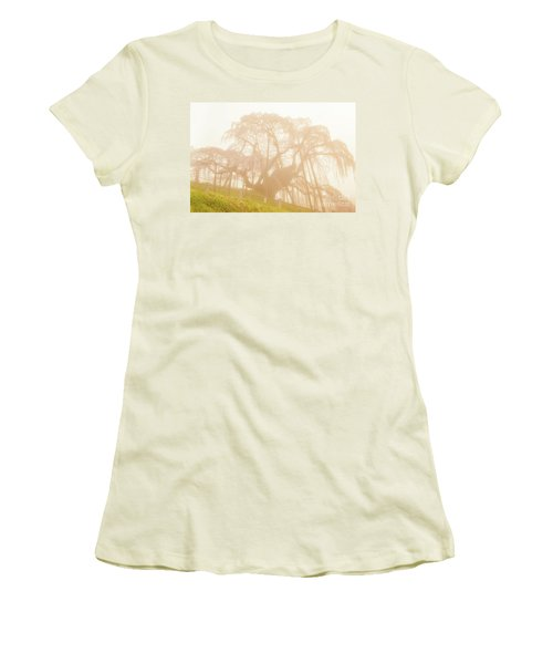 Women's T-Shirt (Athletic Fit) featuring the photograph Miharu Takizakura Weeping Cherry06 by Tatsuya Atarashi