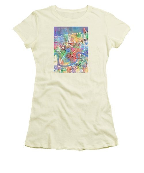 New Orleans Street Map Women's T-Shirt (Athletic Fit)