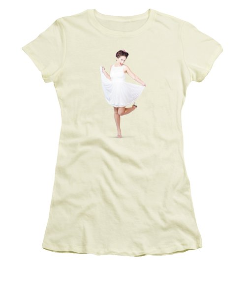 50s Pinup Woman In White Dress Dancing Women's T-Shirt (Junior Cut) by Jorgo Photography - Wall Art Gallery