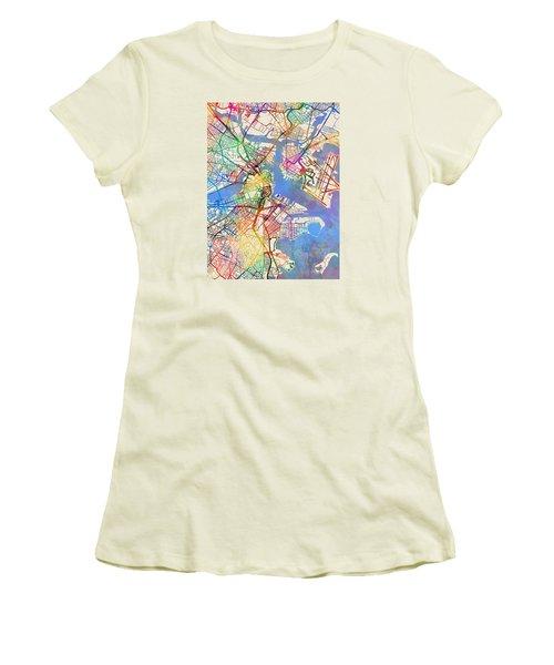 Boston Massachusetts Street Map Women's T-Shirt (Athletic Fit)