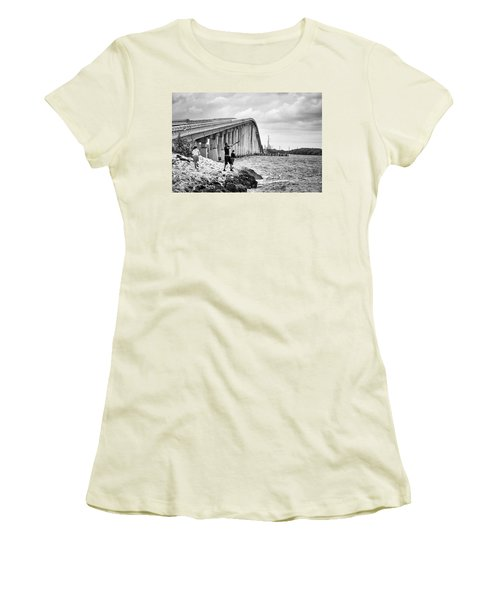 7 Mile Bridge B_w Women's T-Shirt (Athletic Fit)