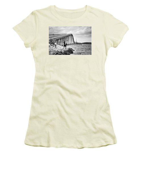 7 Mile Bridge B_w Women's T-Shirt (Junior Cut) by John McArthur