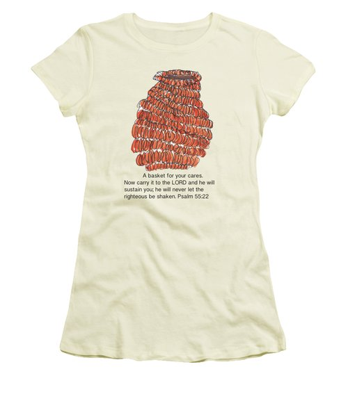 A Basket For Your Cares Psalm 55 Verse 22 Women's T-Shirt (Junior Cut) by Kathleen McElwaine