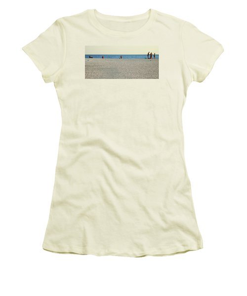 Women's T-Shirt (Junior Cut) featuring the photograph A Fine Day At The Beach by Ginny Schmidt