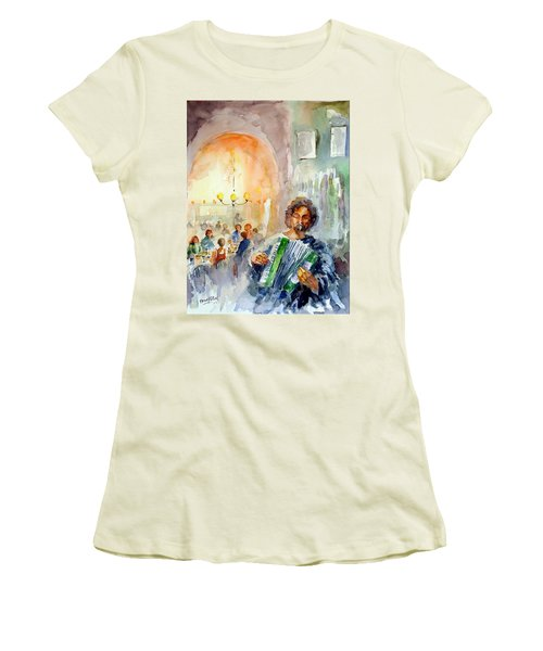 Women's T-Shirt (Junior Cut) featuring the painting A Night At The Tavern by Faruk Koksal