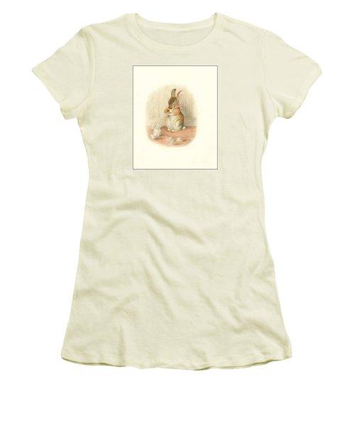 A Rabbit's Tea Party Women's T-Shirt (Junior Cut) by Beatrix Potter