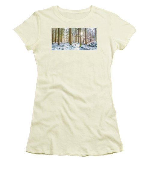 Women's T-Shirt (Junior Cut) featuring the photograph A Sunny Day In The Winter Forest by Hannes Cmarits
