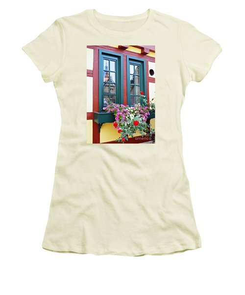 A Window In Eltville  2 Women's T-Shirt (Junior Cut) by Sarah Loft