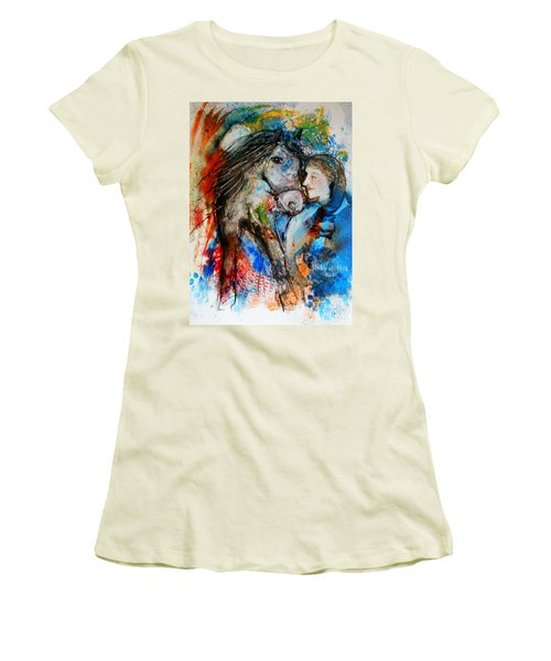 A Woman And Her Horse Women's T-Shirt (Athletic Fit)