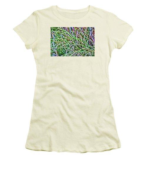 Abstract Grass Women's T-Shirt (Junior Cut) by Roberta Byram