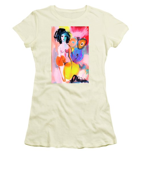 Abstract Nude With Flowers Women's T-Shirt (Athletic Fit)