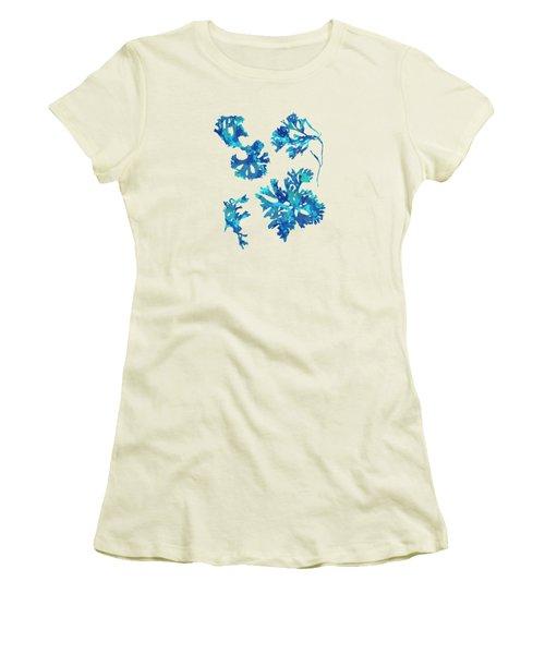 Women's T-Shirt (Junior Cut) featuring the mixed media Abstract Seaweed Art Rhodomenia Laciniata by Christina Rollo