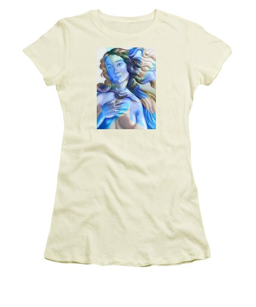 Women's T-Shirt (Junior Cut) featuring the painting Abstract Venus Birth 4 by J- J- Espinoza