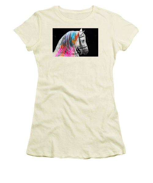 Women's T-Shirt (Junior Cut) featuring the painting Abstract White Horse 54 by J- J- Espinoza