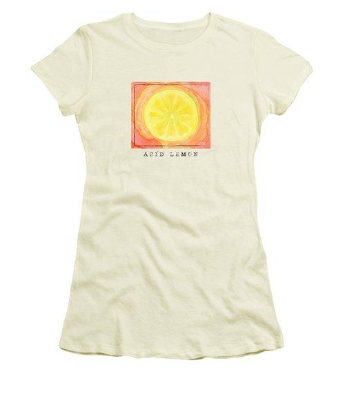 Acid Lemon Women's T-Shirt (Junior Cut) by Kathleen Wong