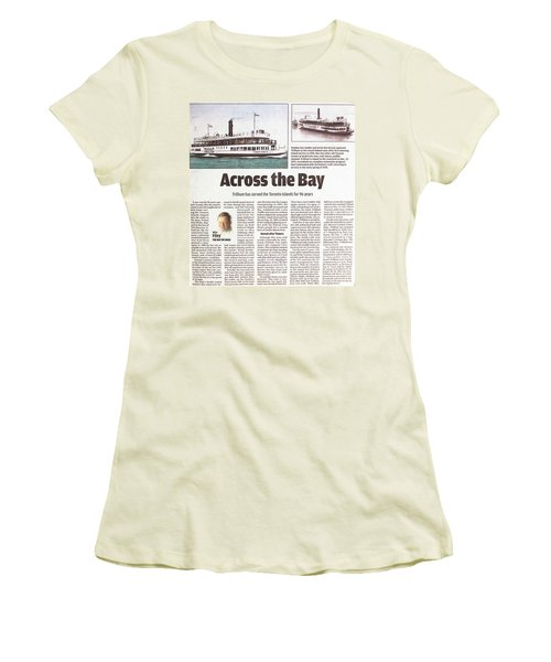 Women's T-Shirt (Junior Cut) featuring the painting Toronto Sun Article Across The Bay by Kenneth M Kirsch