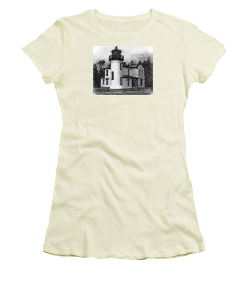 Admiralty Head Lighthouse Sketched Women's T-Shirt (Junior Cut) by Kirt Tisdale