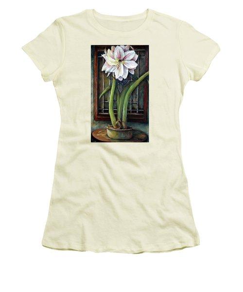 Amaryllis In The Window Women's T-Shirt (Junior Cut) by Bernadette Krupa