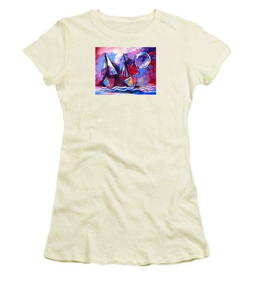 Ameeba- Sailboats 2 Women's T-Shirt (Athletic Fit)