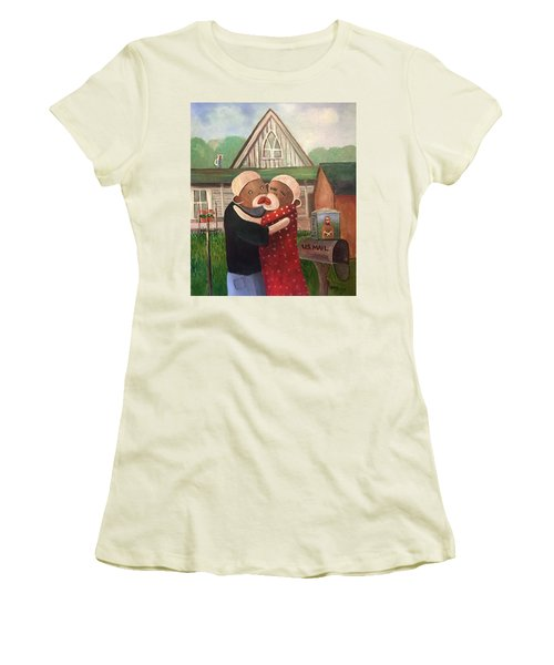 American Gothic The Monkey Lisa And The Holler Women's T-Shirt (Athletic Fit)