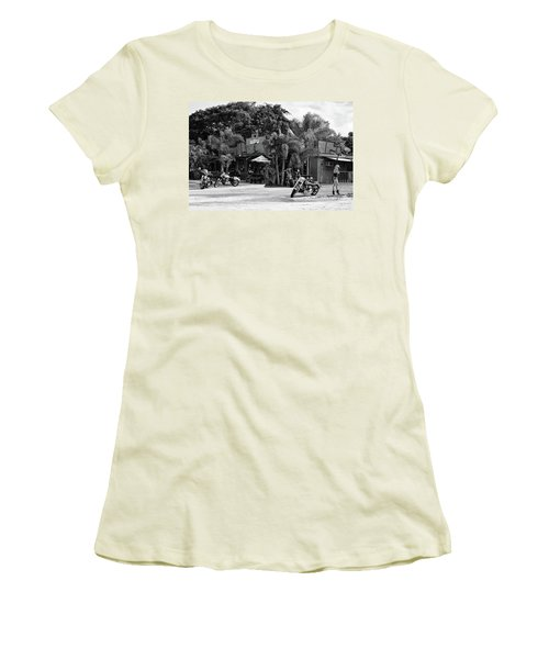 Women's T-Shirt (Athletic Fit) featuring the photograph American Roadhouse Bw by Laura Fasulo