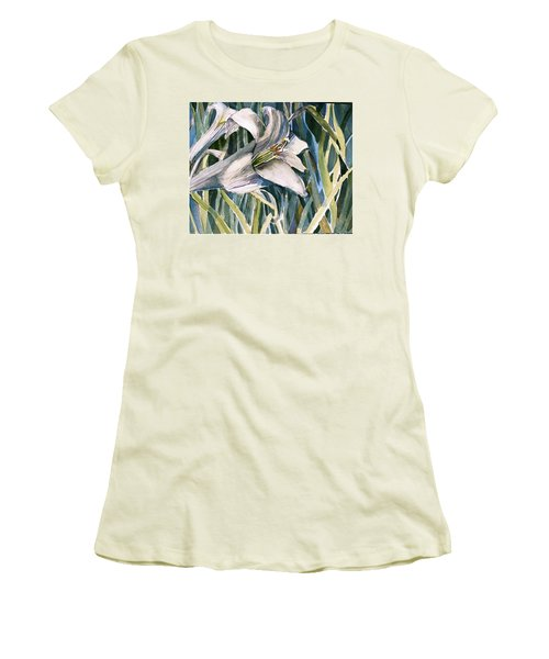 Women's T-Shirt (Junior Cut) featuring the painting An Easter Lily by Mindy Newman
