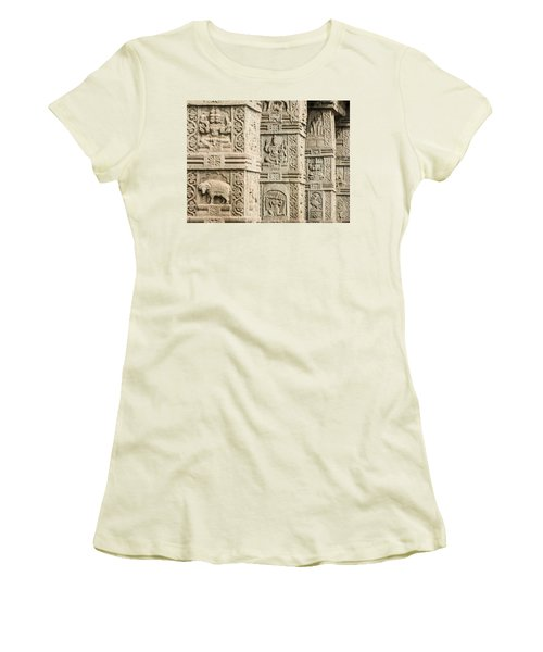 Ancient Temple Carvings Women's T-Shirt (Athletic Fit)