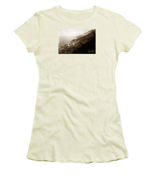 Anderson Creek Labor Camp Big Sur April 3 1931 Women's T-Shirt (Junior Cut) by California Views Mr Pat Hathaway Archives