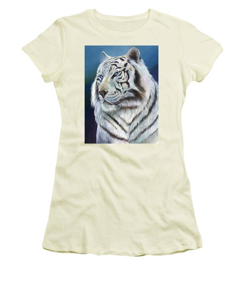 Women's T-Shirt (Junior Cut) featuring the painting Angel The White Tiger by Sherry Shipley