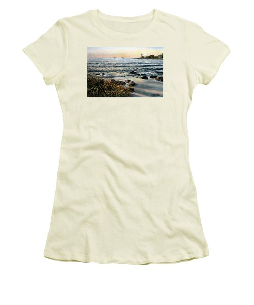 Annisquam Beach And Lighthouse Women's T-Shirt (Athletic Fit)