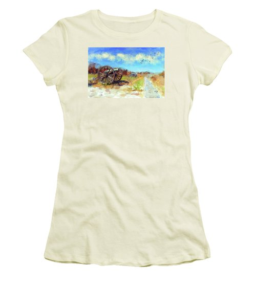Women's T-Shirt (Athletic Fit) featuring the digital art Antietam Under Blue Skies  by Lois Bryan