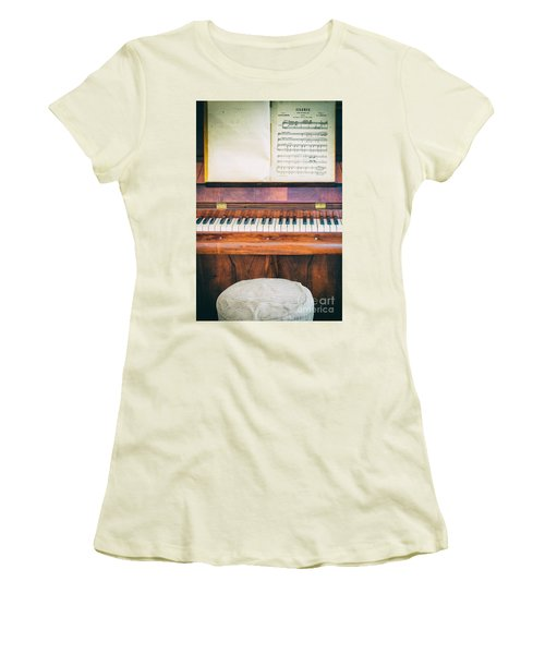 Women's T-Shirt (Junior Cut) featuring the photograph Antique Piano And Music Sheet by Silvia Ganora