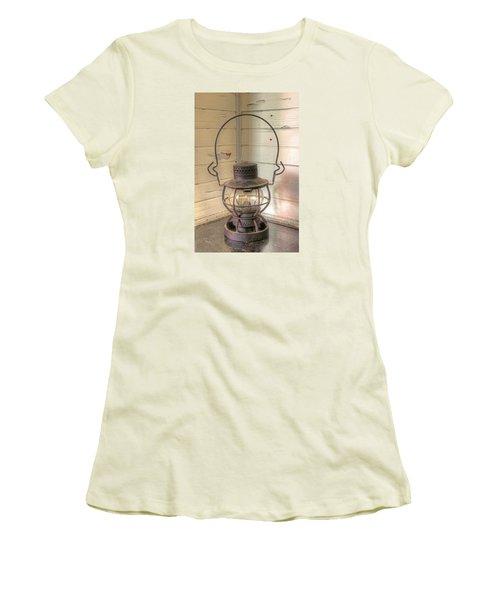 Women's T-Shirt (Junior Cut) featuring the photograph Antique Weighted Kerosene Lantern by Gary Slawsky