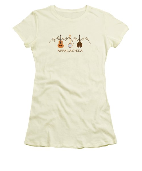 Women's T-Shirt (Junior Cut) featuring the digital art Appalachia Mountain Music by Heather Applegate