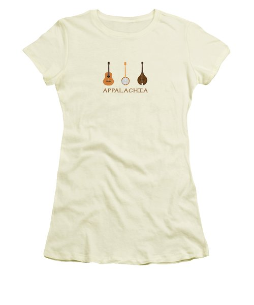 Women's T-Shirt (Junior Cut) featuring the digital art Appalachia Music by Heather Applegate