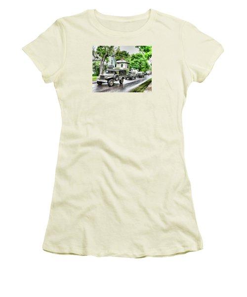 Army Jeeps On Parade Women's T-Shirt (Junior Cut) by Rena Trepanier