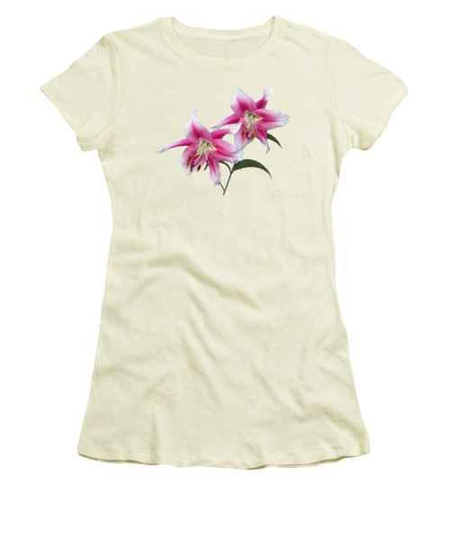 Pink And White Ot Lilies Women's T-Shirt (Junior Cut) by Jane McIlroy